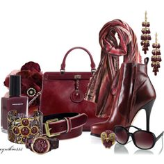 Plum Accessories woman fashion, style, colors, cynthia335, plums, fall fashion, polyvore, plum accessori, accessories