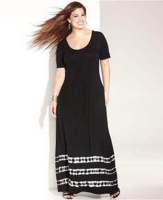 INC International Concepts Plus Size Cap-Sleeve Tie-Dye Maxi Dress - Plus Size Dresses - Plus Sizes - Macy's