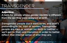 """Transgender: A term for people whose gender identity is different from the sex they were assigned at birth. Transgender people don't want to be, and aren't pretending to be, men or women. Transgender people are men or women (or both or neither -- we'll get to that) and transition in order to better reflect that internal sense of who... [click on this image to find an insightful short clip featuring a number of trans* activists answering the question, """"How do you describe your gender identity?""""]"""