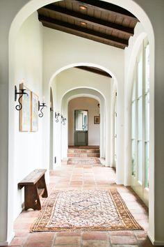 spanish design, interior, arch, floor rugs, ceiling detail, beam, wood ceilings, hallway, courtyard