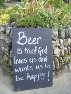 Funny beer sign outside a pub in Cornwall