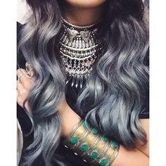 pinterest: @ nandeezy † bracelet, box braids, grey hair, hair colors, blue, silver hair, necklac, boho jewelry, hair silver
