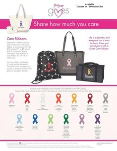Thirty One Gives Care Ribbon. Everyone has a story. Show yours or show your support by having a Care Ribbon placed on your Thirty One product. Starting October 1st. www.mythirtyone.com/NeishaMillerGabrysiak