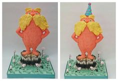 How to make a 3D standing Lorax cake tutorial - CakesDecor