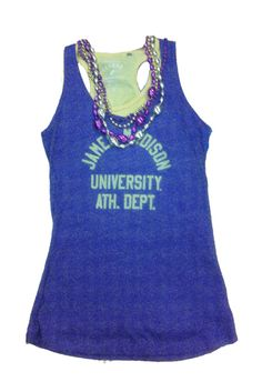 To achieve a simple game day look, stop by the JMU Bookstore and pick up a purple tank top, a gold tank top and a couple strands of spirit beads!  Paired with jeans, you're ready to watch your Dukes take on the Red Flash!