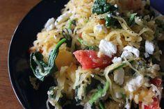 spaghetti squash, spinach, tomato, feta cheese
