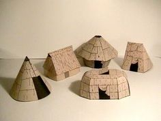 Free papercrafts - make a longhouse and other Native village buildings