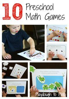 The Math Mega Pack: 10 printable preschool math games. {Playdough to Plato}