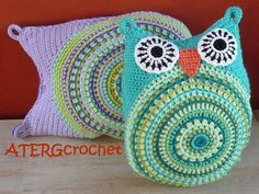 crochet pattern owl cushion by ATERGcrochet - 2 sizes -.
