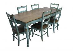 Large View of French Country Rustic Dining Table & 6 Chairs Teal Blue