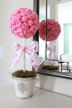 valentine decor. paper roses, idea, craft, valentine day, valentines day decorations, topiaries, flower, crepe paper, paper rosettes