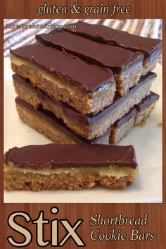 STIX bars! (Like Twix bars, but much healthier ingredients! Paleo/Primal, Gluten free, Grain free) Absolutely rich and delicious! By www.AuNaturaleNutrition.com