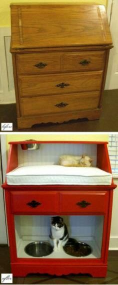 Cat bed- flip this so the food is up high so the dog can't get it! Attach the face if botton drawer agabin to make bottom area cozy. dog food area, cat beds, anim, cat food can crafts, old dressers, pet, craft idea, cat food area, diy idea