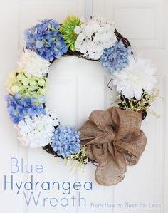 Blue Hydrangea Door Wreath.