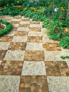 Gravel and Brick Form Checkerboard Pavement Design