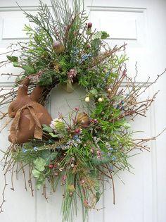 Country Spring Easter Primitive Bunny Rabbit, Eggs Door Wreath Arrangement