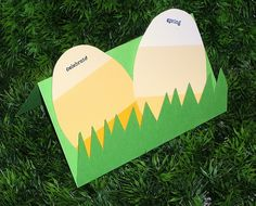 cute and easy card. made from paint chips. table decorations, craft, easter card, place cards, paint colors, easter eggs, paint samples, chip easter, paint chip