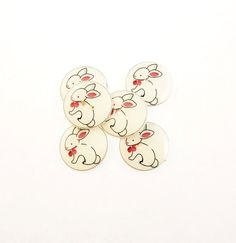 6 Rabbit Buttons.  Pink and White Bunny Sewing by buttonsbyrobin, $11.99 handmad button, rabbit button