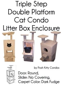Triple Step Double Platform Cat Condo and Litter Box Enclosure Door: Round, Slider: No Covering, Carpet Color: Dark Fudge by Posh Kitty Condos  - Price: $469.95 - #catlitterboxfurniture #cat #litter #box #furniture - http://www.catbedandtoy.com/cat-litter-box-furniture