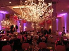 Fall Spring Summer Winter Pink Purple Silver White Centerpieces Indoor Reception Wedding Reception Photos & Pictures - WeddingWire.com