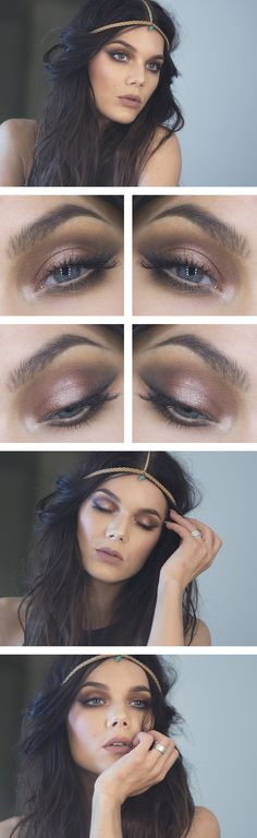 """Linda Hallberg """"Perfect Nude""""   Obsessed with this matte nude lip and dramatic warm toned eye"""