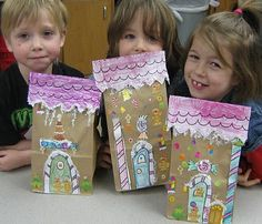 brown paper bags, craft, brown bags, ginger bread house, lunch bags, house architecture, cut paper, gingerbread houses, 4 kids