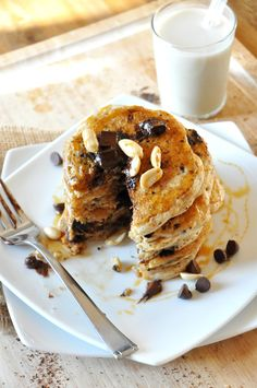 Vegan Snickers Pancakes! with vegan caramel sauce