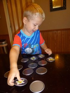 Make a memory game out of Juice Can Lids