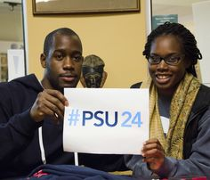 10/20/14 -- In the HUB-Robeson Cultural Center, junior Tyrone and senior Ragina are getting the word out about this week's #PSU24 hashtag campaign. Starting at daybreak (7:32 a.m.) Thursday morning and ending Friday at daybreak, use #PSU24 in the captions of your posts on (not Pinterest but) Facebook, Twitter, Instagram, Vine and Google+, to share them on http://www.psu24.psu.edu. Show the world a day in the life of Penn State (around the world).  #PSU24