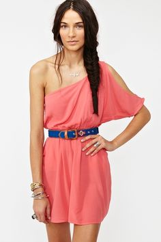 Love the coral and blue and the one shoulder