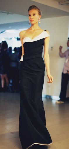 fashion, la renta, style, the dress, black white, cocktail dresses, gown, oscar de, stunning dresses