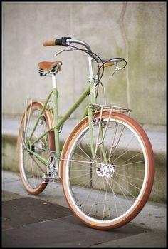 green and tan bike