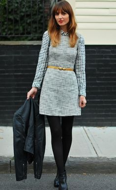 Collared blouse underneath tweed dress, paired with tights and a belt