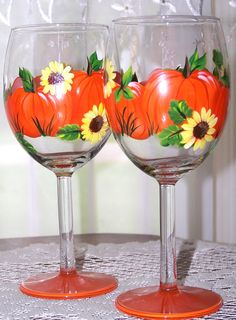 Fall Wine Glass Set  Hand Painted in Pumpkin and by BonnysBoutique, $20.00