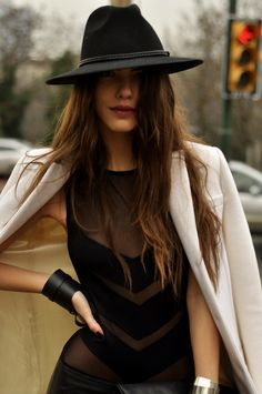 × All kinds of cool / #style fashion, outfit, sombrero, the dress, black, coat, shirt, fedora, hat