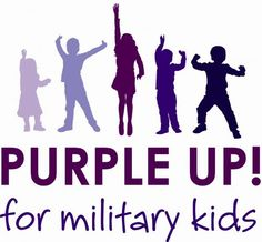 PURPLE UP! for military kids logo April 15 wearing purple in support of our military families.