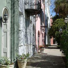 walking past rainbow row (east bay street)