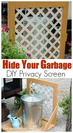 Tired of looking at your trash can? Try this! A DIY Lattice Privacy Screen {hide garbage can} . Step by step tutorial to hide just about anything.