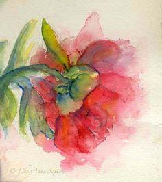 peony watercolor/encaustic maybe??