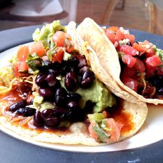 Black Bean and Barbecue Shredded Pork Tacos...yum! #tacos