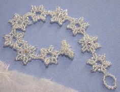 """Snowflakes & Crystals Bracelet Pattern - A project from Bead-Patterns the Magazine Issue 8 (Nov/Dec 2006) """"Holiday"""""""