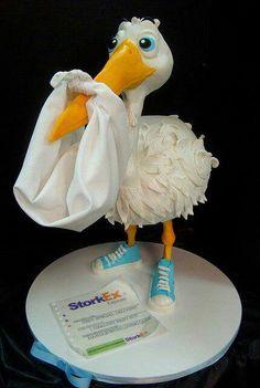 welcom stork, beauti cake, cake inspir, stork cake, amaz stork