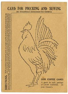 Embroidery Pattern - Rooster - Line Art - The Graphics Fairy