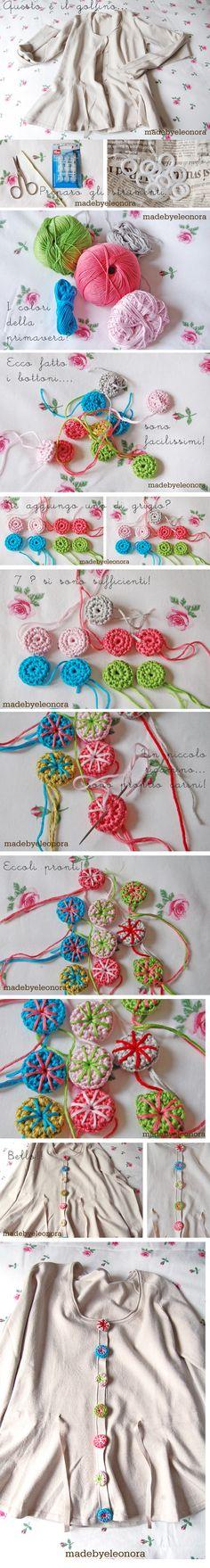 Crochet Bottons - Photo Tutorial ❥ 4U // hf