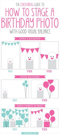 How to stage a birthday photo - click through for example pics! #chickabug #photography