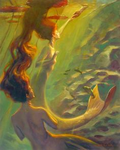 siren, nymphs, art, john larriva, sea, waternymph, textile design, mermaid, water nymph