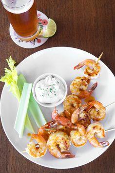Buffalo Grilled Shrimp Skewers