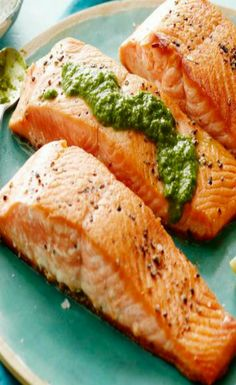 Pesto Vinaigrett, Pan Seared Salmon, Sear Salmon, Herb Pesto