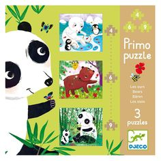 Djeco puzzle set, 3 brightly illustrated puzzles featuring bears, each a different difficulty level (4, 6, and 9 pieces) - $13.50