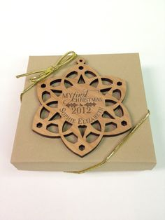 Custom Wooden Baby's First Christmas Snowflake Ornament Laser Engraved